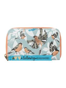 Collective blue bird large zip around purse