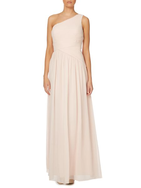 JS Collections One shoulder rouched chiffon dress