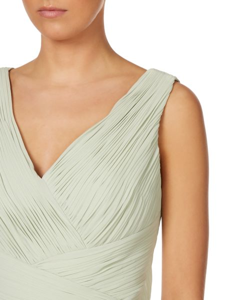 JS Collections V neck gown with pleated body