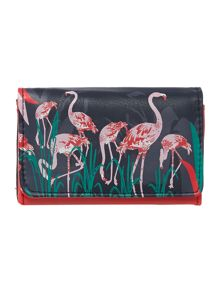 Collective blue flamingo flap over purse