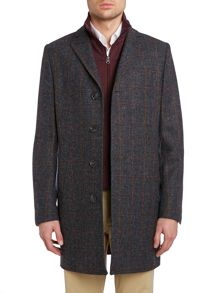 Checked tweed coat