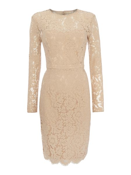 JS Collections Long sleeve all over lace dress