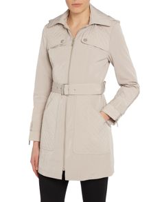 Coat casual mac with quilt detail