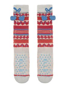 Fairisle slipper with pom pom