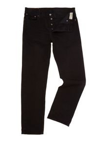 12oz black denim straight leg jean