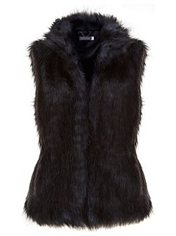 Mint Velvet Blue & Black Faux Fur Gilet