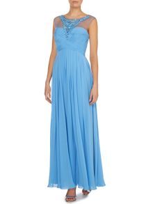 JS Collections Crystal neckline gown with ruched bodice