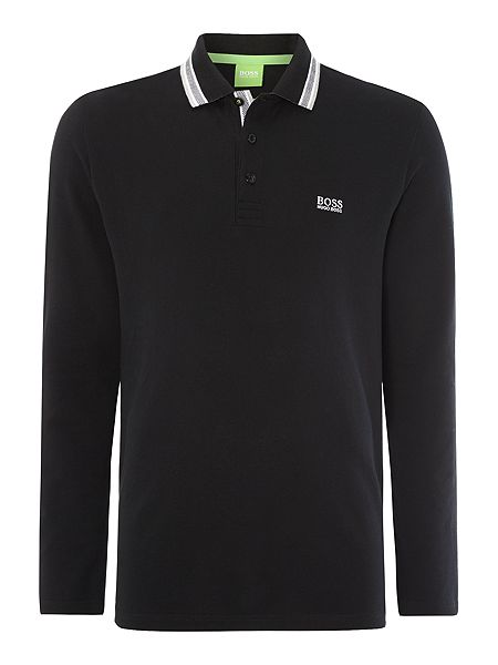 Hugo boss long sleeve tipped collar polo shirt black for Hugo boss polo shirts xxl