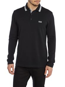 Long Sleeve Tipped Collar Polo Shirt