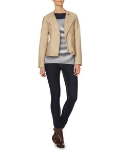 Pu ribbed shoulder jacket