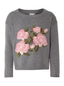 Girls Long Sleeved Floral Jumper