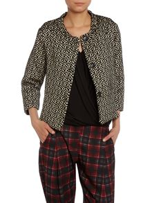 Beige and brown pattern print jacket