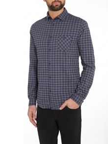 long sleeved small check shirt