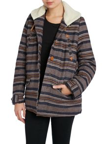 Striped blanket lining jacket contrast collar