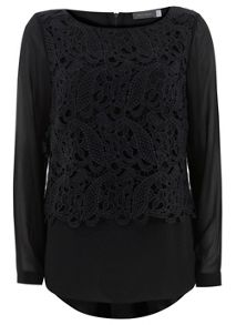 Black Lace Double Layer Top