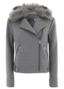Grey Faux Fur Wool Blend Biker Jacket