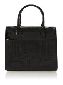 Punched climbing daisy black margot tote bag