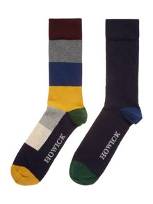 2 pack wide stripe socks