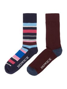 2 pack fairground stripe socks