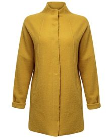 Funnel Neck Boiled Wool Coat