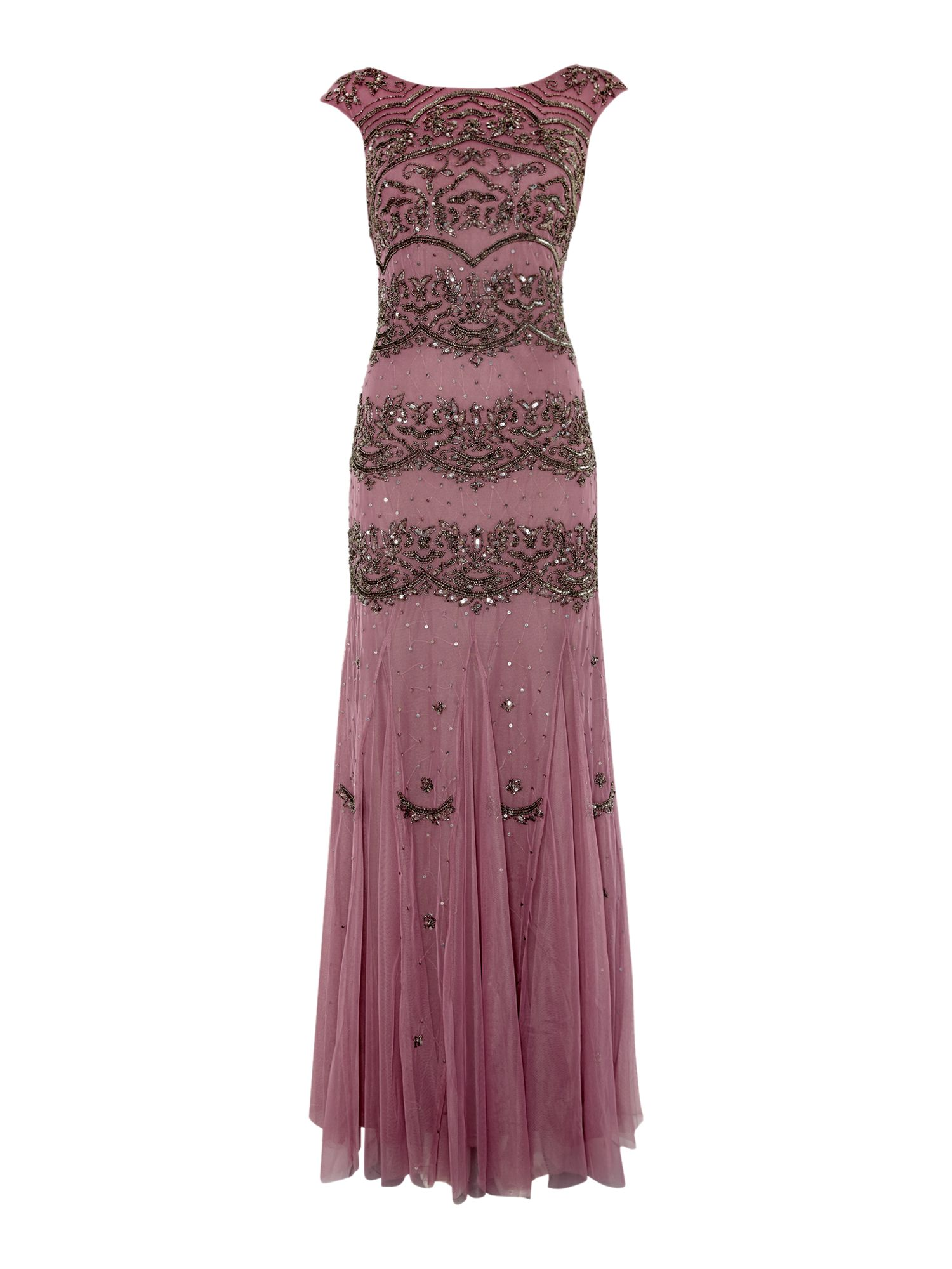 Adrianna Papell Cap sleeve sequin panel gown $165.00 AT vintagedancer.com
