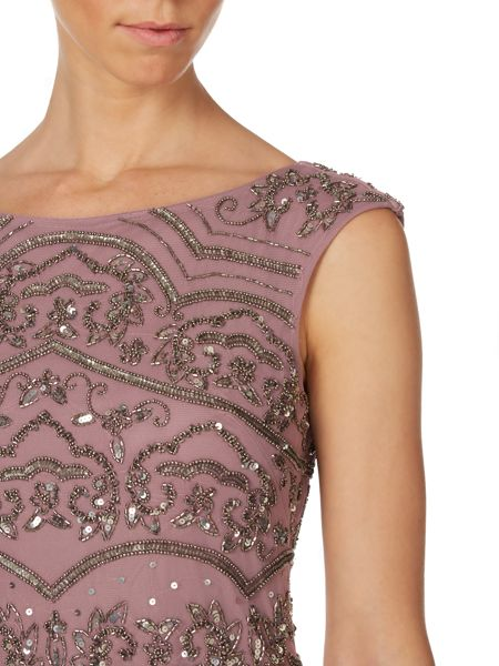 Adrianna Papell Cap sleeve sequin panel gown