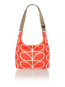 Matt laminated red steam print sling crossbody