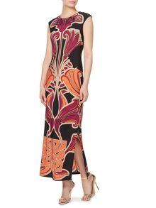 Enlarged logo jersey maxi dress