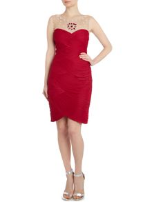 Jewel neck ruched waist dress
