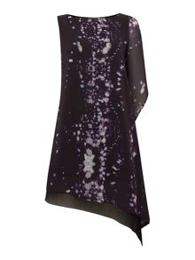 Raindrops print asymmetric dress