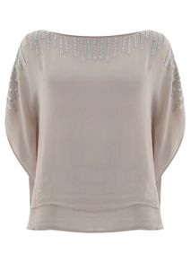 Nude Double Layer Beaded Top