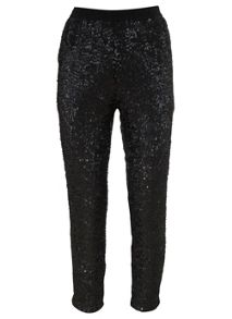 Black Sequin Peg Trousers