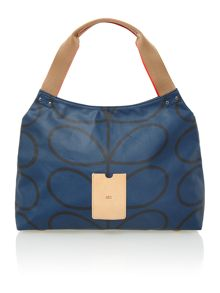 Matt laminated navy steam print shoulder bag