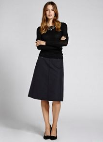Black Pleat Back Midi Skirt