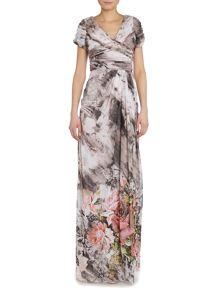 Adrianna Papell Printed cap sleeve gown with draped skirt
