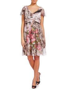 Printed cap sleeve dress with draped skirt