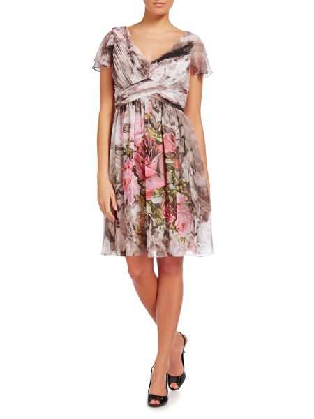 Adrianna Papell Printed cap sleeve dress with draped skirt