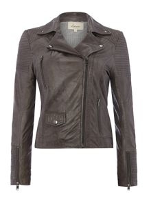 Oil wash leather jacket