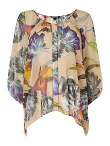 Orchid printed volume loose blouse