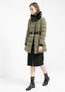 Faux fur neck coat