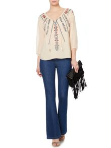 Embroidered sheer gypsy blouse