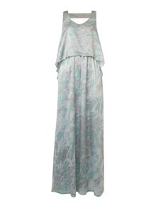 Label Lab Printed and beaded double layer maxi dress