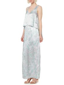 Printed and beaded double layer maxi dress
