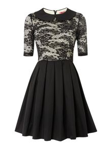 Collared Lace 3/4 Sleeve Skater Dress