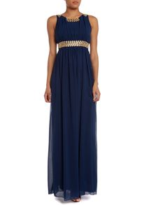 Sleeveless  Diamante Maxi Dress