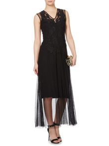 Mesh embellished maxi dress