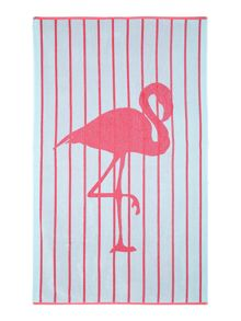 Flamingo stripe beach towel