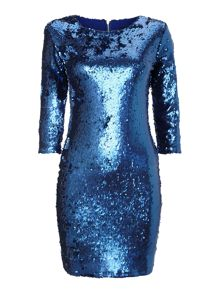 3/4 matt sequin bodycon dress