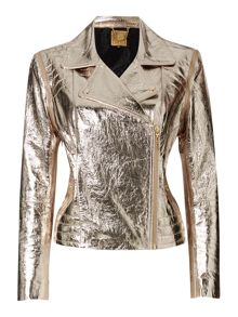 Gold limited edition zip off sleeve leather biker