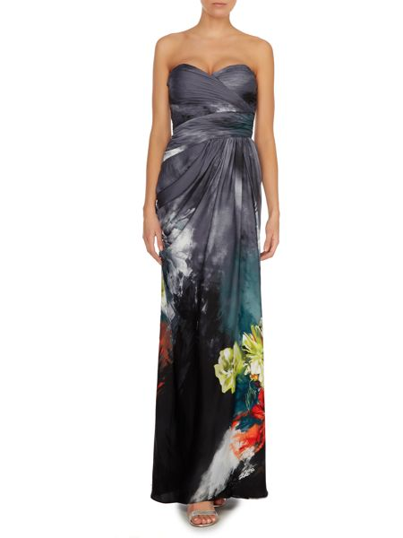 Adrianna Papell Floral print strapless gown with ruched top